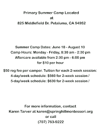 Summer Camp Weekly Schedule Spring Hill Montessori And Academy Summer Camp
