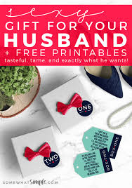 y gift idea for your husband two small bo with tiny red ribbons labels one