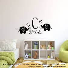 Wall Decal Size Chart Details About Initial Name Personalised Monogram Wall Stickers Nursery Elephant Wall Decal Art