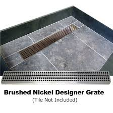 redi trench single curb shower pan with left linear drain brushed nickel designer grate