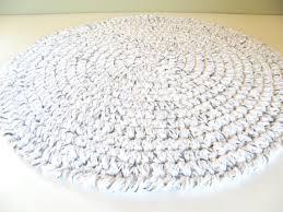round bath rug crochet thick plush white w black spec cotton