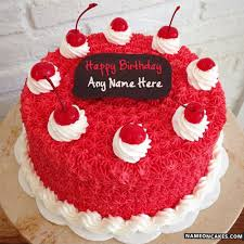 Write Anyone Name On Cool Cherry Decorated Happy Birthday Cake For