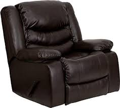 flash furniture plush brown leather lever rocker recliner with padded arms