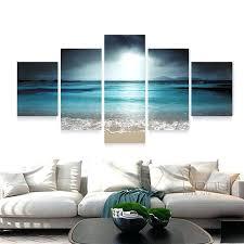 exclusive inspiration beach wall art layout design minimalist 5 panel seascape canvas decor for bathroom beach wall decor