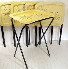tv tray set. vintage metal tray tables set of 5 retro atomic by divineorders, $70.00 tv