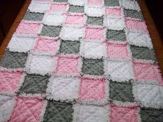 Baby Rag Quilt With Easy Video Tutorial | Rag quilt, Baby rag ... & Baby Rag Quilts Pink Grey Baby Quilt Minky by LoveableQuiltsNMore Adamdwight.com