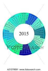 Circle Calendar Template Circle Calendar 2015 Year Template Clipart K21279091