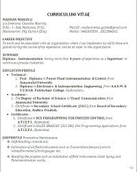Resume Format For Diploma In Mechanical Engineering Earpod Co