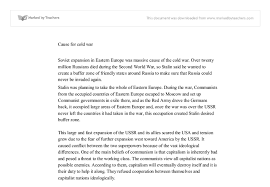causes of the cold war soviet expansion and the marshall plan  document image preview