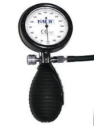 aneroid manometer. aneroid sphygmomanometer dial, bulb, and air valve. clinical mercury manometer