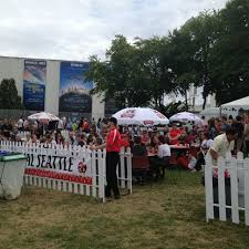 the beer garden at the 2016 polish festival seattle the pacific science center is in the background
