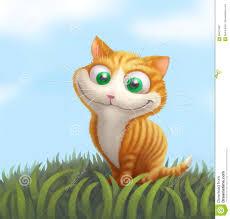 Chat De Gingembre Sur L Herbe Verte Illustration De Dessin Anim