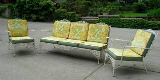 vintage wrought iron patio furniture yellow chair with floral accent antique rod iron patio