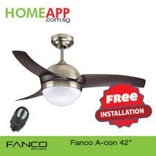 fanco acon 42 ceiling fan with light and remote antique brass with free installation