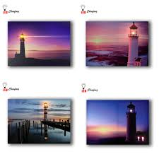 Led Lighted Canvas Painting Us 14 99 25 Off Lighted Canvas Paint Lighthouse Canvas Print Led Wall Art Sea And Beach Sunset Wall Picture For Home Decor Battery Open 16x24in In