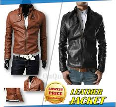 leather stylish men blazer leather jacket biker motorcycle jacket