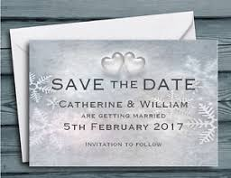 Winter Wedding Save The Date Save The Date Cards Snowflakes And Hearts Winter Wedding