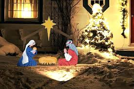 outside nativity scene set outdoor with light in snow piece le clothes outside nativity scene