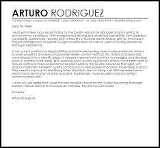 Quality Assurance Manager Cover Letter Sample Cover Letter