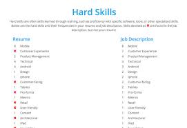 Numbers indicate the frequency of skill/keyword occurrences in the job  description and the resume:
