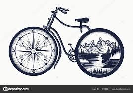 Cyklistické Umění Tetování Symbol Cestování Turistika