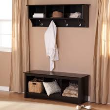 Foyer Benches With Coat Racks Dark Brown Wooden Narrow Entryway Bench With Three Square Shelves 6
