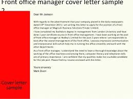 Front Office Cover Letter Cover Letter Medical Receptionist Front