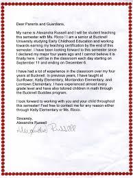 Letters To Parents Alexandra Russells Teaching Portfolio