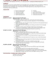 Restaurant Manager Resume Template Delectable Rare Restaurant Manager Resume Format Templates Assistant Cv