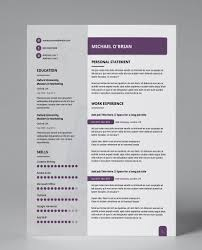 Modern Technical Skills For Resume Purple Edge Modern Double Page Cv Resume Resume