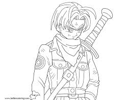 Dragon Ball Super Coloring Pages Mirai Trunks Free Printable