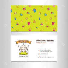 Vector Modern Business Card Template With Cute Baby Shop Logo