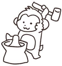 餅つきをする猿のイラスト申年 ゆるかわいい無料イラスト素材集