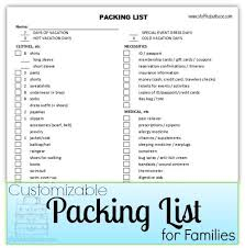 Packing List For Families Customizable Packing List For