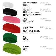 Headband Size Chart Size Chart For Sports Terry Headband