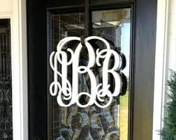 front door monogramWall Ideas  Wooden Interlocking Monogram Wall Decor Wooden