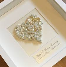 personalised pearl anniversary gift on art 30th wedding anniversary present framed pearl artwork