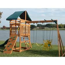 kids outdoor swing set wood canopy 2 swings glider rock wall wave throughout wooden swing sets