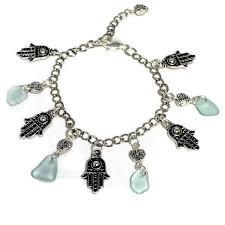 hamsa hand and light blue beach glass charm bracelet beachy r designs