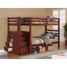 espresso finish twin twin with drawer stair bunk bed bunk bed shelves storage