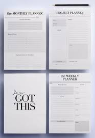 Minimal Planner A4 Agenda Inserts - 12 Printable Planners: Blank ...