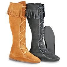 men s minnetonka moccasins front lace hardsole boots
