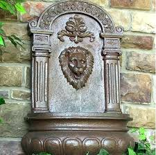 lion head water fountain outdoor wall mounted fountains mount outd