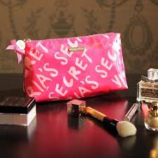 victoria s secret signature pink cosmetic bag women make up pouch