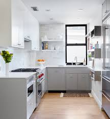 Small Flat Kitchen Small Contemporary U Shaped Open Concept Kitchen Idea In New York