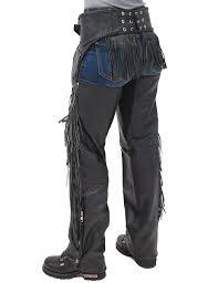 Jamin Leather Rear Fringed Western Chaps W Elastic Thigh C1116ef