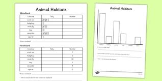 Animal Habitat Tally Chart And Graph Worksheet Worksheet
