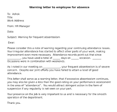 to write warning letter for absenteeism