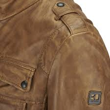 boss orange men s jump leather jacket light pastel brown image 4