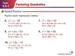14 factoring quadratics